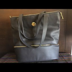 Large Double Decker Leather Tote